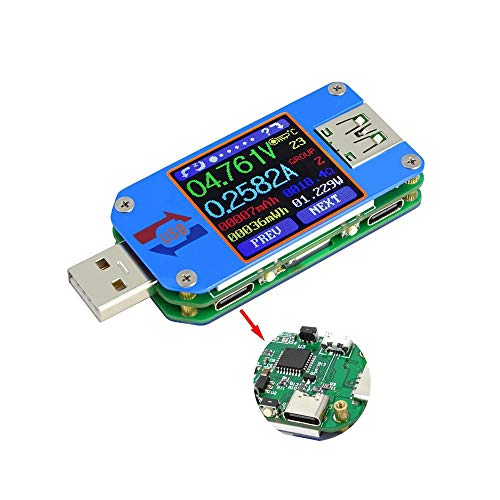 USB Tester UM25C USB Meter Tester,Voltage Current Bluetooth Battery Power Charger Voltmeter Ammeter Multimeter Tester, 1.44 Inch Color LCD Display USB 2.0 Type- C Cable Resistance Load Impedance Mete