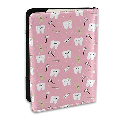 Reisepasshülle Schutzhülle Dental Stoff Zahnpasta PU Leder Reisebrieftasche Sperrkarte Brieftasche Reisepasshüllen 6,5 Zoll