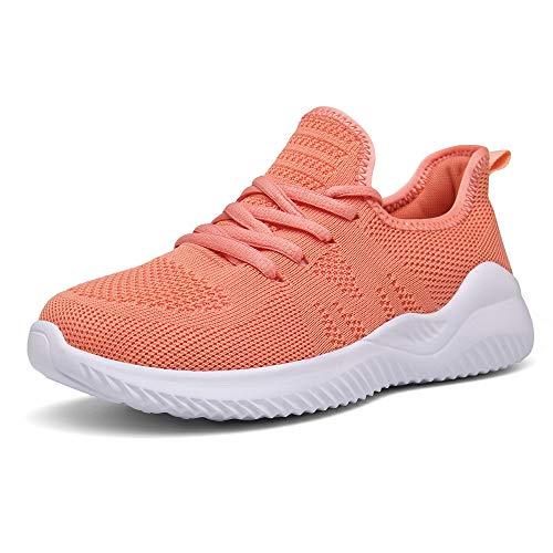 PAMRAY Damen Turnschuhe Laufschuhe Atmungsaktiv Sportschuhe Running Sneaker Leichtgewichts Orange 35 EU