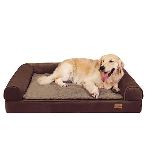 BingoPaw Cama para Perro Ortopédica, Colchón de Esponja para Perros con Funda Extraíble, Sofá Cama Impermeable y Lavable para Perros Grandes, Color Marrón, 95 x 72 x 22cm