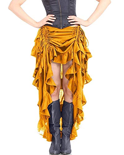 ThePirateDressing Steampunk Victorian Cosplay Costume Womens High-Low Show Girl Skirt C1367 (Gold) (Large)