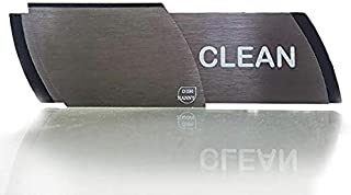 Premium Metal Dishwasher Magnet Clean Dirty Sign | The Only NEW BLACK STAINLESS Out there - Best Kitchen Gadgets - Home Office Organization, Padded Magnets or 3M Tabs (Metal Black Stainless)