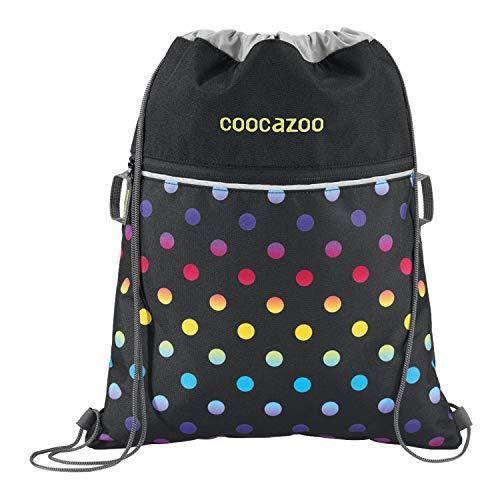 """coocazoo Sportbeutel RocketPocket """"Magic Polka Colorful"""", schwarz/bunt, mit Reißverschlussfach und Kordelzug, reflektierende Elemente, Schlaufen zur Befestigung am Schulrucksack, für Mädchen, 10 Liter"""