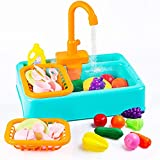 Kitchen Sink Toy With Running Water - Children Kitchen Toy Set- Pretend Wash-up Kitchen Sink Play Set Includes Fruit and Vegetable Kitchenware, Water Faucet & Drain Basket? Great for Kids (Green)