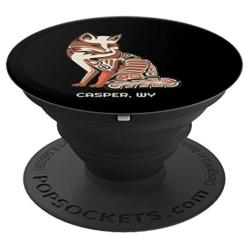 Wyoming Casper Tribal Fox Native American Haida Style PopSockets Grip and Stand for Phones and Tablets