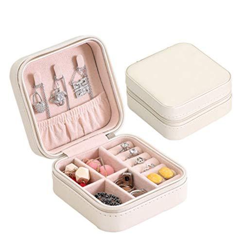 xiaofeng214 Organizador de Joyas Universal, Estuche de Viaje, Caja de joyería portátil con botón, de Cuero, con Cremallera, (Color : 02)