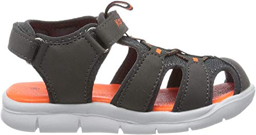 KangaROOS K-Mini Unisex Baby Sandalen, Grau (Steel Grey/Neon Orange 2125), 22 EU