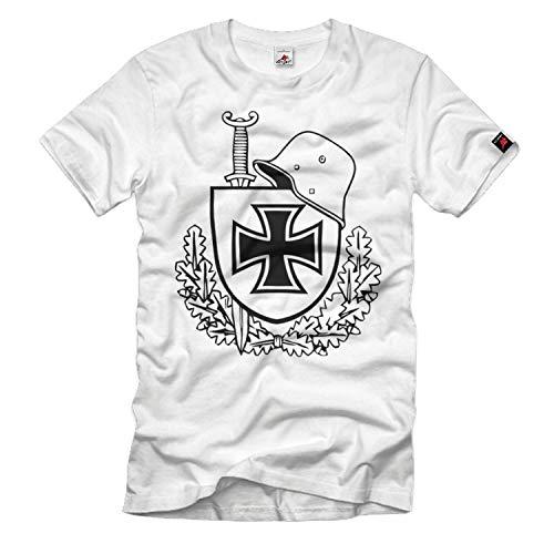 Verteran WW1 Stahlhelm m16 ek Schwert Schild Eichenlaub Heer T-Shirt #33520, Größe:M, Farbe:Weiß