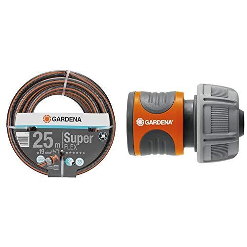 """Gardena Premium Superflex Manguera, 30 X 20 X 20 cm + 18216-20 Conector para el Inicio de la Manguera, hermético, Mango ranurado, Montaje Sencillo, Gris, Naranja, 19 mm (3/4"""")"""