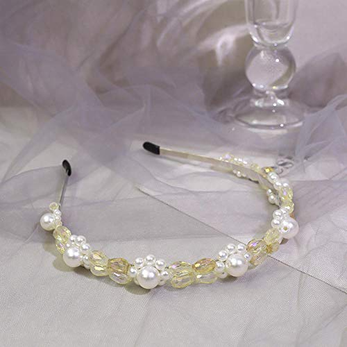 Accessoires pour cheveux Tissé à la main vintage exquis cristal perle cheveux cerceau ornement de cheveux coiffe cheveux cerceau-jaune