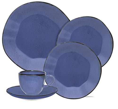 1 Aparelho De Jantar/chá 20 Peças Ryo Santorini - Rm20-9510 Oxford Ryo Azul E Marrom Escuro