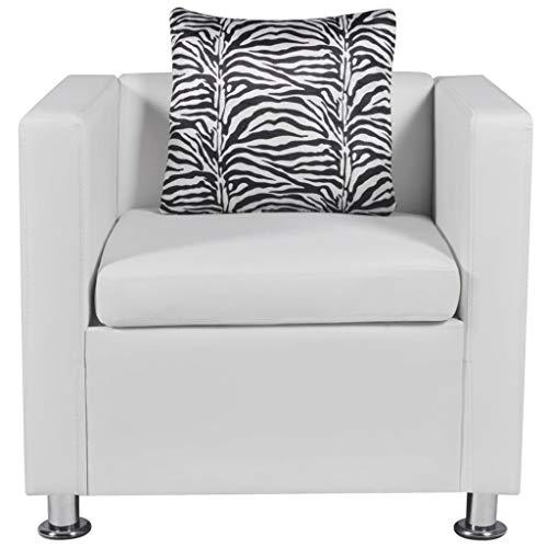 Vislone Einsitzer Couchsessel Kunstleder Sessel mit 1 Kissen Loungesessel, Wohnzimmer Büro Sofa Lounge Couch Weiß