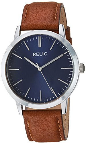 Relic by Fossil Men's Jeffery Quartz Metal and Leather Casual Watch, Color: Silver, Brown (Model: ZR77298)
