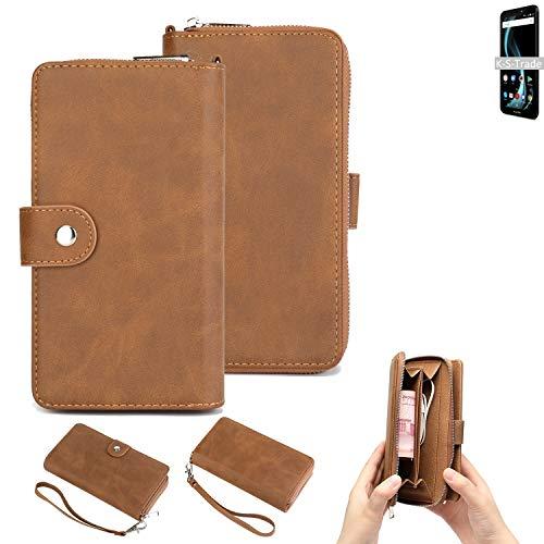 K-S-Trade Handy-Schutz-Hülle Für Allview X4 Soul Infinity S Portemonnee Tasche Wallet-Hülle Bookstyle-Etui Braun (1x)