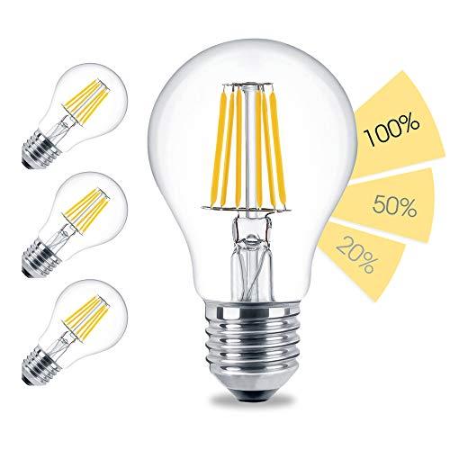 linovum 4er Set fourSTEP Dim E27 Birne LED mit 4-Schritt-Dimmung 'Dimmen mit jedem Lichtschalter' - 8W 800lm 2500K warmweiß