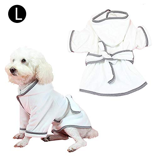 Fancylande huisdier Robe Cat Dog pyjama warm absorberend badjas voor honden sneldrogend service voor huisdieren mobiele telefoon, L, Wit