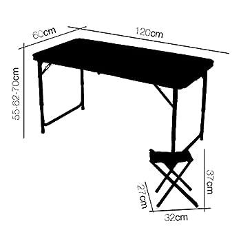 BRAVO HOME Table de Camping Pliante 120x60x70cm avec 4 chaises Pliantes en Aluminium Table Portable réglable en Hauteur pour Pique-Nique, Plage, pêche, Le Jardin