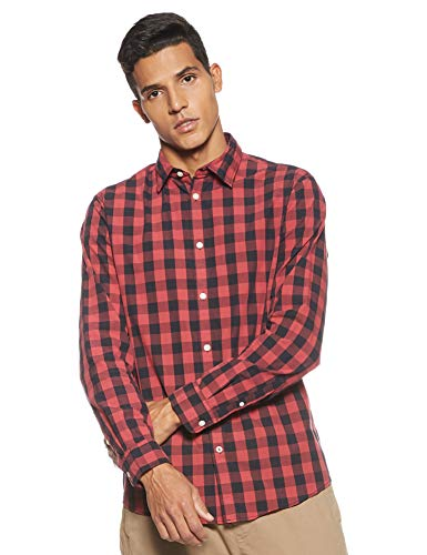 JACK & JONES Herren Hemd Kariertes LBrick Red