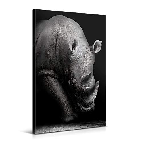 Cuadros Modernos de Animales de Decoración para Salón y Dormitorio - Rinoceronte, 80 x 120 cm - Lienzo de Poliéster y Bastidor de Madera, Color Blanco y Negro, LEN-036