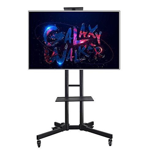 Vemount Verstellbarer TV-Ständer mit Rädern und Ablage für LED, LCD, Plasma-Flachbildfernseher, DVD-Konsole und Xbox-Konsole 32-65 Zoll Schwarz