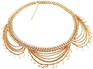 FemNmas Gold Metal Leaf Belly Multi Chain Kamarband for Women