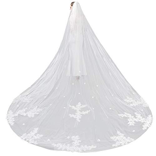Boda Velo De Cola Larga Simplicidad Borde De Encaje De Tul Suave Elegante Cabello Simple Una Sola Capa con Peine Accesorios para Accesorios Vestido De Novia Regalo Fiesta De Matrimonio