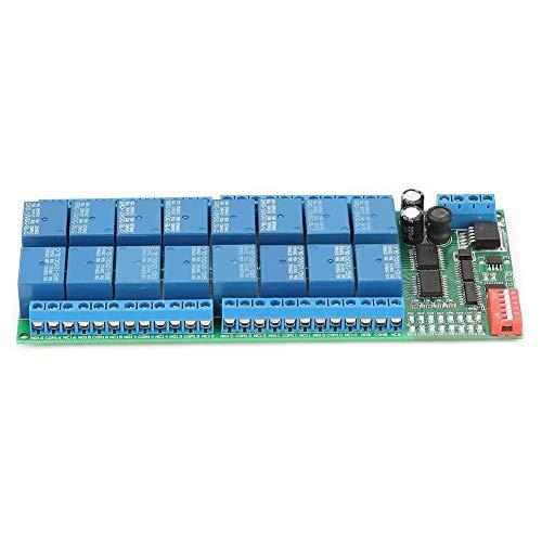 DEWIN Modbus Relais - Modbus Rtu Optokoppler Relais C 12V 16 Kanal MODBUS RTU RS485 Relaismodulplatine PLC Controller Serial Port Switch