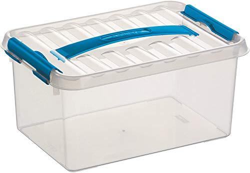 6x SUNWARE Q-Line Box - 6,0 Liter - 300 x 200 x 140mm - transparent/blau