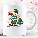 N\A Don 't Touch Use Mascarilla Cuarentena Social Distancing Christmas Holiday Taza de cerámica