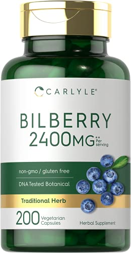 Bilberry Extract Capsules | 2400mg | 200 Count | Vegetarian, Non-GMO, Gluten Free Fruit Supplement | by Carlyle
