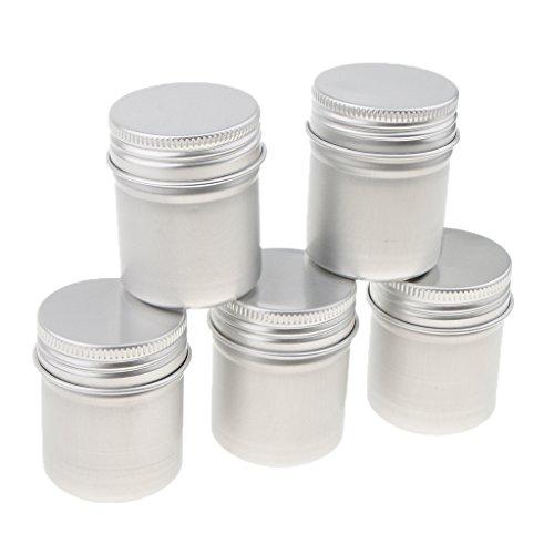 Fenteer 5 Pcs 50ML Pot Cosmétique Vides Flacon Maquillage en Aluminium Portable Crème Bouteilles Voyage pour Visage/Lotion/Crème/Poudres
