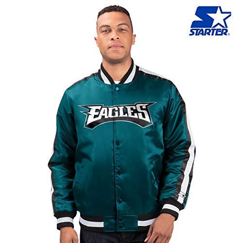 Philadelphia Eagles Starter O-Line Varsity Full-Button Satin Jacket -Green (2XL)