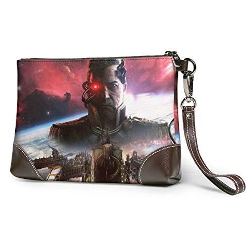 JHGFG Battlefleet Gothic Armada Leather Coach Corner Zip Wrist Women's of Man Leather Wristlet Clutch Wallet, Smartphone Wristlet Purse Signature Wallett