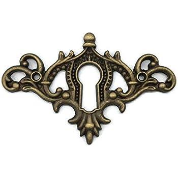 Solid Cast Brass Louis Style Large Vertical Keyhole Escutcheon
