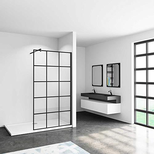 110x200cm Mamparas de ducha pantalla panel fijo estilo industrial negro con cuadrados cristal antical 8mm con Barra 70-120cm