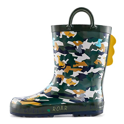 KomForme Kids Girl Boy Rain Boots, Waterproof Rubber Printed with Handles (Camouflage Dinosaur, 9 Wide Toddler)