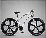 Bicicletas de MontañA 26 Pulgadas, Marco De Acero Al Carbono De Alta Bike Bicicleta Fat Tire, Bicicleta De Freno De Doble Disco De MTB, Unisex Adulto,White,30 Speed 5 Spoke