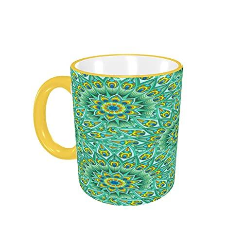 Taza de café con diseño Circular de Colores Brillantes de Plumas de Pavo Real, Tazas de cerámica con Asas para Bebidas Calientes, café con Leche, té, café, Regalos, 12 oz Yellow