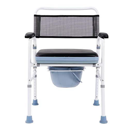 Toilettenstuhl/Toilettenstuhl, Verstellbare Höhe, 5 Gang Sitz für die perfekte Passform, leicht, zusammenklappbar, 70 x 58 x 20 cm