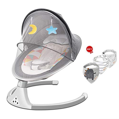 AIBAB Musica Sedia Comfort Bambino Sedia Bouncers astuto del Bambino Elettrico Sedia a Dondolo con zanzariera a Cinque velocità di Rotazione Muto Bluetooth Wireless USB (B)