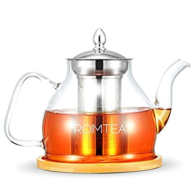 Glass Teapot Kettle with Stainless Steel Removable Infuser for Blooming Tea & Loose Leaf Tea, Bonus Tea Kettle & Infuser Coaster, Microwave & Stovetop Safe, Gift Box, 1200mL/40oz