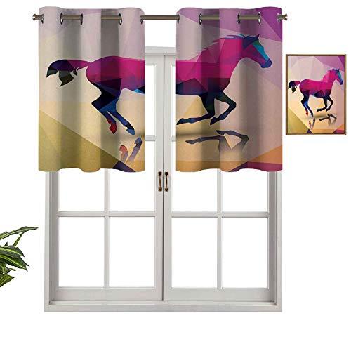 Hiiiman Cenefa recta de cortina con ojales, patrón geométrico abstracto de caballo, diseño indie con estampado de símbolos, juego de 1, 132 x 45 cm, ideal para cualquier habitación y dormitorio