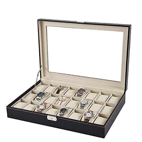Cajas de reloj de piel sintética con ventana de 24 bits caja de almacenamiento de joyería (color: negro, tamaño: 33 x 20 x 8 cm) (color: negro, tamaño: 33 x 20 x 8 cm)