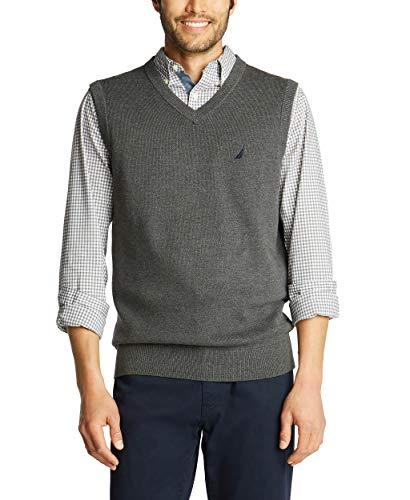 Nautica Men's Navtech Sweater Vest, Charcoal Heather, Large