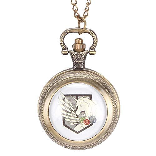 DZX Reloj de Bolsillo de Cuarzo, Attack on Titan Three Corps Flag Relojes de Bolsillo para Hombres, Collar Reloj de Bolsillo Regalo, Reloj de Bolsillo Reloj de Pared Gris