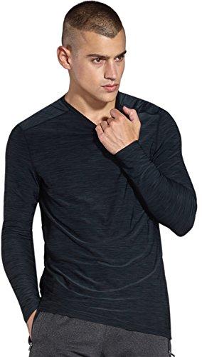 Komprexx Herren Longsleeve T-Shirt Running Pullover Langarmshirt Sport Sweatshirt Lauf Funktionsshirt Winter Trainingsshirt MC05T(Black,S)