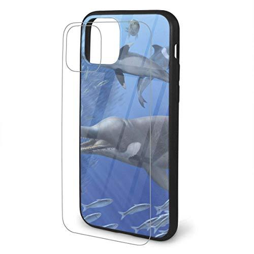 DAWN & ROSE Prehistoric Sardine iPhone 11 TPU Glass Phone Case Series Carcasa a prueba de golpes y arañazos para iPhone 11 Pro Max