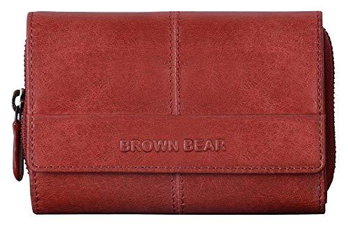Brown Bear Echtleder Geldbörse Damen Leder Rot Vintage RFID Schutz Blocker groß viele Fächer Reißverschluss-Fach hochwertig Portemonnaie Frauen Geldbeutel Portmonaise Portmonee BB Lin Red