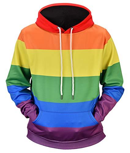 Ocean Plus Hombre Casual Sudaderas con Capucha Impresión Realista Galaxia Sudadera Streetwear Camisa Pullover (3XL (Pecho: 127CM), Arco Iris)