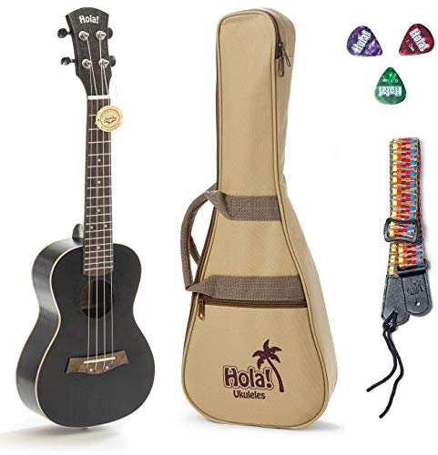 Concert Ukulele Bundle, Deluxe Series by Hola! Music (Model HM-124BK+), Bundle Includes: 24 Inch Mahogany Ukulele with Aquila Nylgut Strings Installed, Padded Gig Bag, Strap and Picks - Black